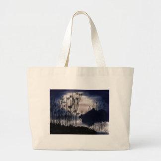 Het landschap van de middernacht canvas tas
