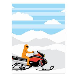 Het landschap van de sneeuwscooter briefkaart