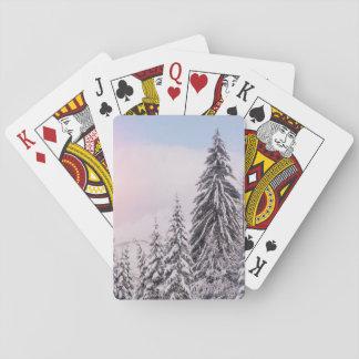 Het landschap van de winter het spelen kaarten