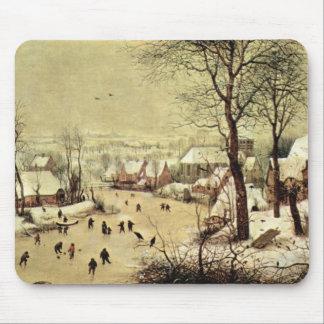 Het landschap van de winter met schaatsers door muismatten