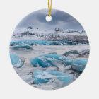 Het landschap van het Ijs van de gletsjer, IJsland Rond Keramisch Ornament