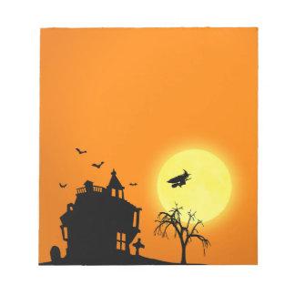Het Landschap van het Silhouet van Halloween - Notitieblok