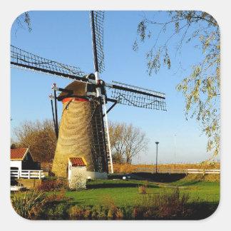 het Landschap van windmolenNetherland Vierkante Sticker