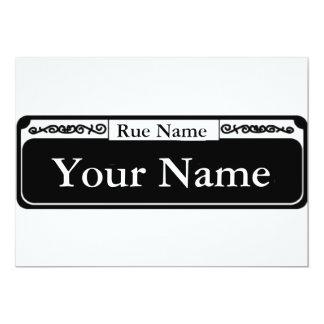Het lege Teken van de Straat, Uw Naam, Rue Name Kaart