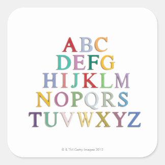 het leren, brieven, alfabet vierkante sticker