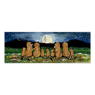 Het Letten op van de Familie van de wasbeer de Poster