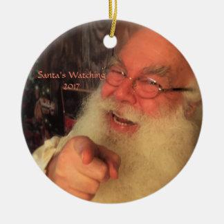 Het Letten op van de kerstman Ornament 2017