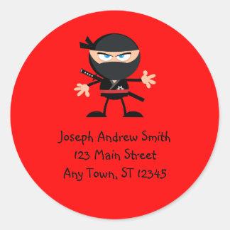 Het leuke Adres van de Strijder Ninja Ronde Sticker