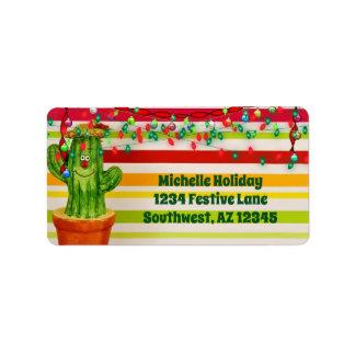 Het leuke Adres van Kerstmis van de Cactus van de Etiket