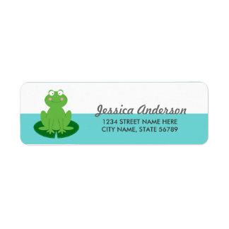 Het leuke Adresetiket van Weinig Terugkeer Froggy Etiket