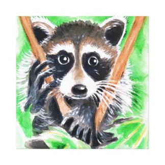 Het leuke Art. van de Waterverf van de Wasbeer Canvas Afdruk