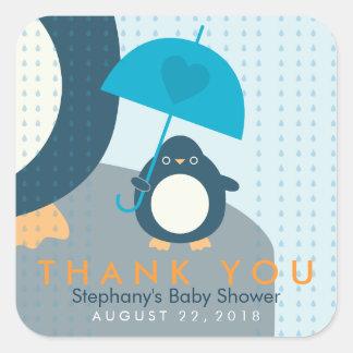 Het leuke Baby shower van de Jongen van de Pinguïn Vierkante Sticker