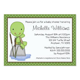 Het leuke Baby shower van de Stip van de Schildpad 12,7x17,8 Uitnodiging Kaart