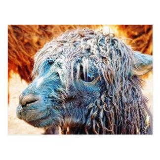 Het leuke Baby van de Alpaca in Blauw Briefkaart