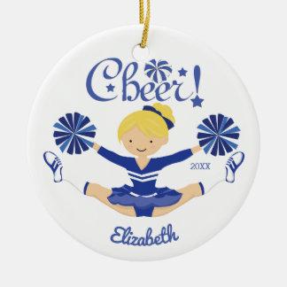 Het leuke Blauw juicht Blonde Gepersonaliseerde Rond Keramisch Ornament