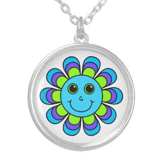 Het leuke Blauwe Gezicht van Flower power Smiley Ketting Rond Hangertje