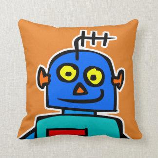 Het leuke Blauwe Kinder Sinaasappel van de Robot Sierkussen