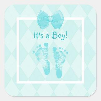 Het leuke Blauwe Lint van het Baby shower van de Vierkante Sticker