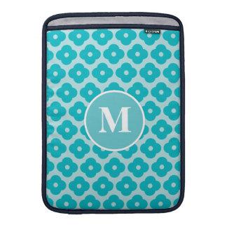 Het leuke Blauwgroen BloemenMonogram van het Sleeve For MacBook Air