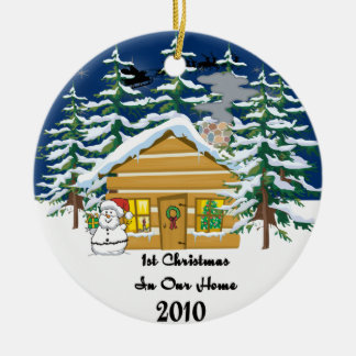 het Leuke Blokhuis van 1st Kerstmis 2010 Rond Keramisch Ornament