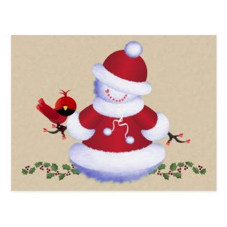 Het leuke Briefkaart van de Sneeuwman met Vogel