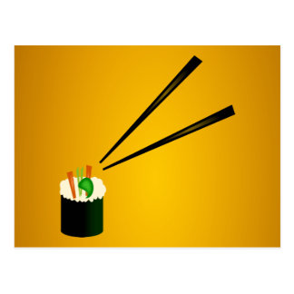 Het leuke Broodje van Sushi in Hoek met Eetstokjes Briefkaart