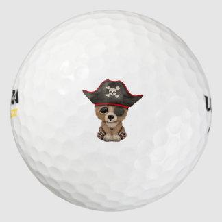 Het leuke Bruine Baby draagt de Piraat van de Welp Golfballen