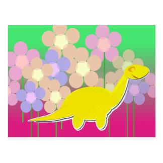 Het leuke Dinosaurus en Briefkaart van Bloemen