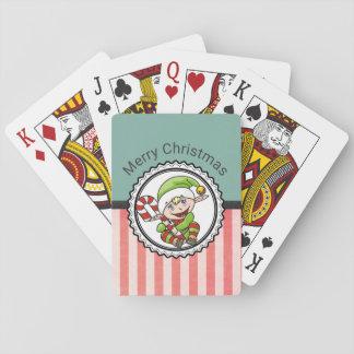 Het leuke Elf van de Vakantie met Vrolijke Pokerkaarten