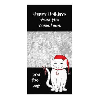 Het leuke en sassy witte kat van Kerstmis Kaart