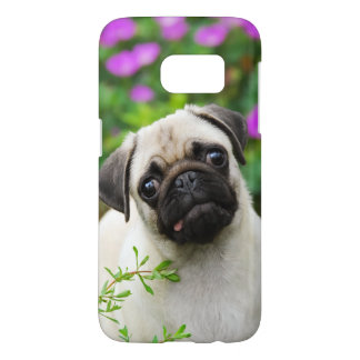 Het leuke Fawn Gekleurde Pug Portret Phonecase van Samsung Galaxy S7 Hoesje