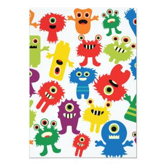 Het leuke Grappige Kleurrijke Patroon van Monsters 12,7x17,8 Uitnodiging Kaart