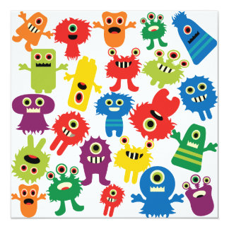 Het leuke Grappige Kleurrijke Patroon van Monsters 13,3x13,3 Vierkante Uitnodiging Kaart