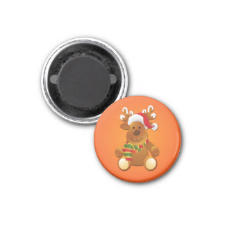 Het leuke & Grappige Rendier van Kerstmis Ronde Magneet 3,2 Cm