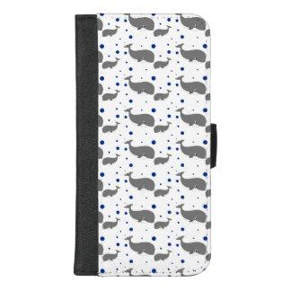 Het leuke Grijze Blauwe Stip van Walvissen iPhone 8/7 Plus Portemonnee Hoesje