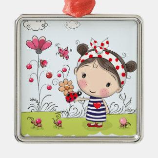 Het leuke Meisje van de Cartoon met Zilverkleurig Vierkant Ornament