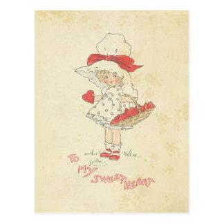 Het Leuke Meisje van de vintage Harten van de Briefkaart