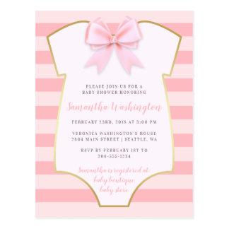 Het leuke Meisje van het Baby bloost Roze Boog & Briefkaart
