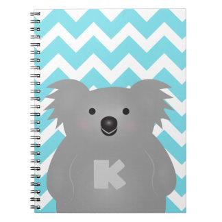 Het leuke Monogram van de Koala van het Baby van Ringband Notitieboek