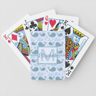 Het leuke Monogram van het Patroon van Blauwe vinv Bicycle Speelkaarten