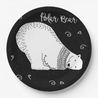 Het leuke Ontwerp van de Ijsbeer in Zwart-wit Papieren Bordje
