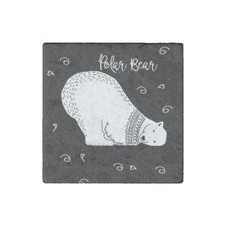 Het leuke Ontwerp van de Ijsbeer in Zwart-wit Stenen Magneet