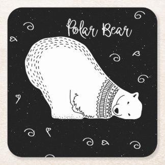 Het leuke Ontwerp van de Ijsbeer in Zwart-wit Vierkante Onderzetter