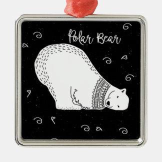 Het leuke Ontwerp van de Ijsbeer in Zwart-wit Zilverkleurig Vierkant Ornament