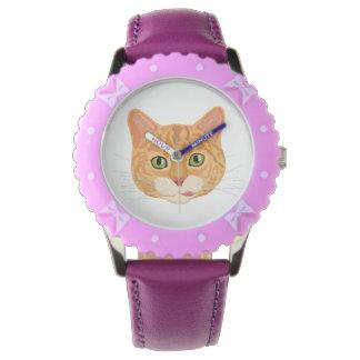 Het leuke Oranje Gezicht van de Kat Horloge