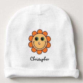 Het leuke Oranje Monogram van de Bloem van het Baby Mutsje