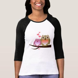 Het leuke Paar van de Uil met de Harten van de T Shirt