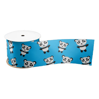 Het leuke patroon van de hemel blauwe panda satijnen lint