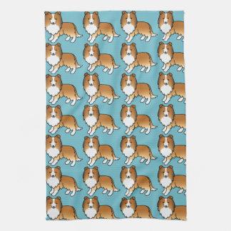 Het leuke Patroon van de Honden van Sheltie van de Keukenhanddoeken