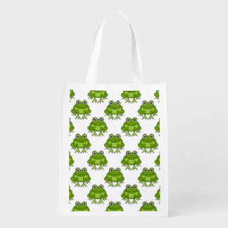 Het leuke Patroon van de Kikker Herbruikbare Boodschappentassen
